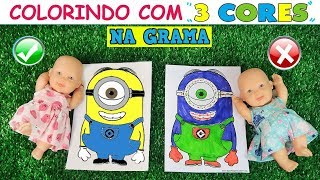 Baixar COLORINDO COM 3 CORES ★ NA GRAMA! | 3 MARKER CHALLENGE - Lilly Doll
