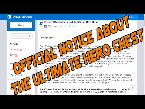 Marvel Future Fight |Official notice about the Ultimate Hero Chest