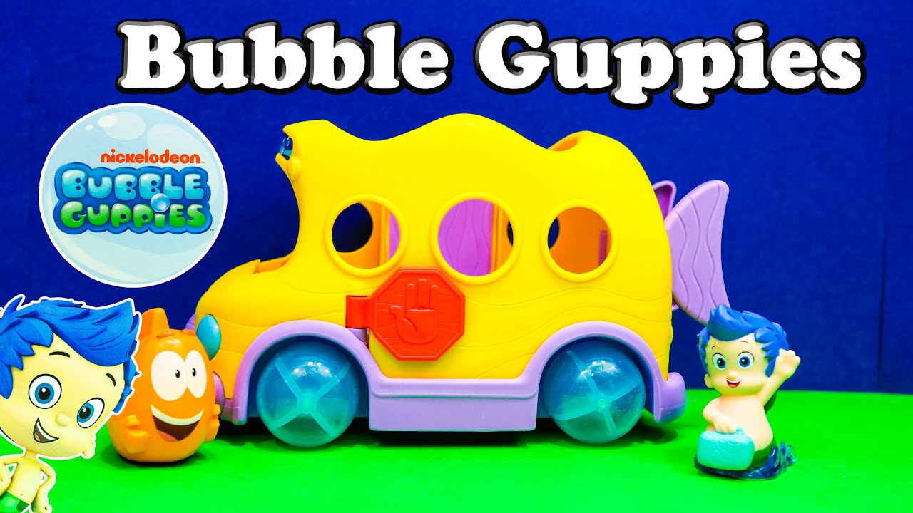 bubble guppies nickelodeon bubble guppy gil and mr grouper bus a bubble guppy video toy review youtube