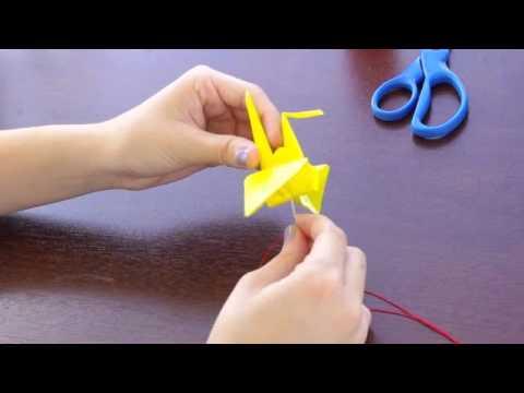 Hanging oragami paper crane tutorial youtube for Crane tutorial