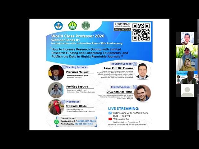 Webinar I WCP Fakultas Teknik, Universitas Riau 2020