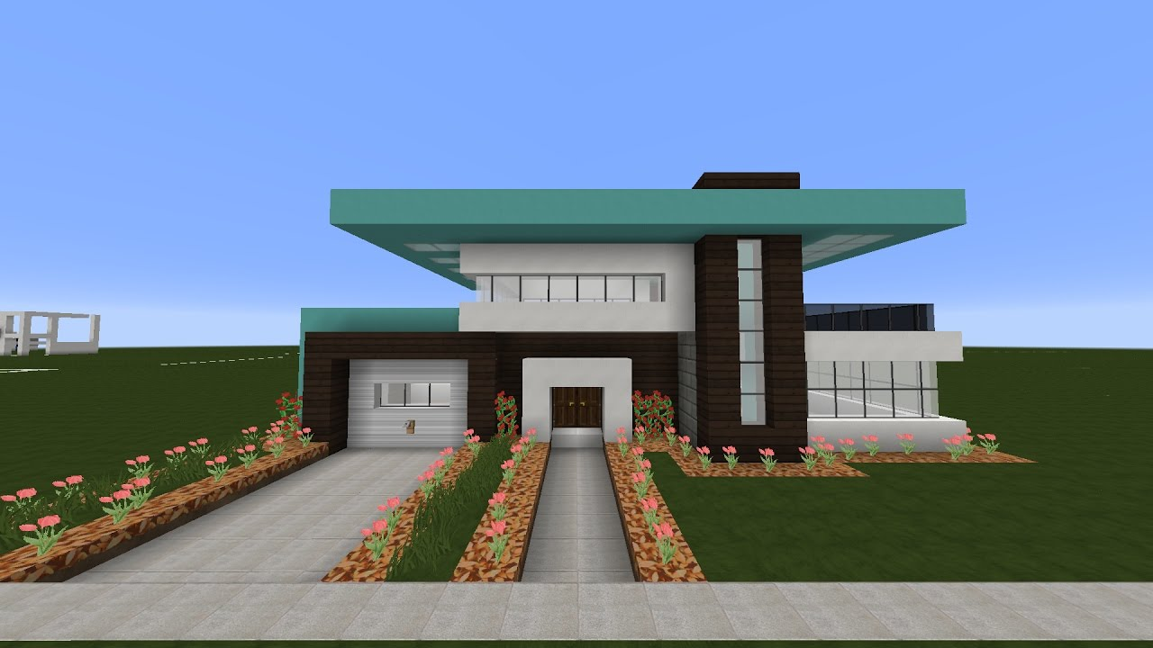 Tutorial linda casa moderna minecraft pt1 youtube for Casas modernas minecraft keralis
