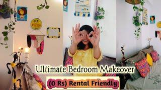 Stylish  0 Rs   Small Bedroom Makeover || Diy Rental Friendly Decor Ideas|| Free Room Transformation