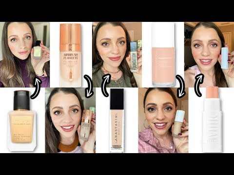 TRYING 5 NEW FOUNDATIONS + Drugstore Foundations I Like Better...