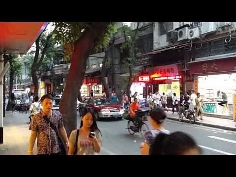 Walking through Guangzhou City street market China