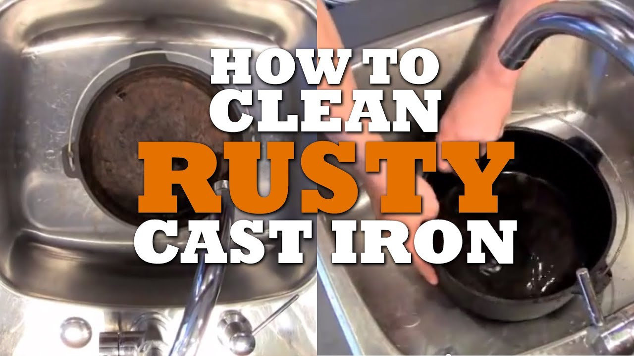how to clean and reseason rusty cast iron youtube. Black Bedroom Furniture Sets. Home Design Ideas