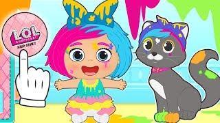 BEBE LILY Se disfraza de LOL Doll Surprise Splatters  Dibujos animados para niños en español