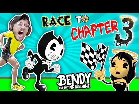 BENDY vs. ME! Race to Chapter 3!  IRL Gaming Play Date Part 2 (FGTEEV Bendy & The Ink Machine Skit)