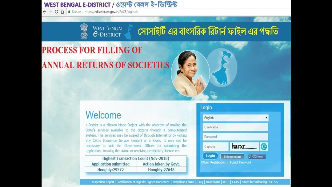 Annual Filling of  Returns for Society in West Bengal
