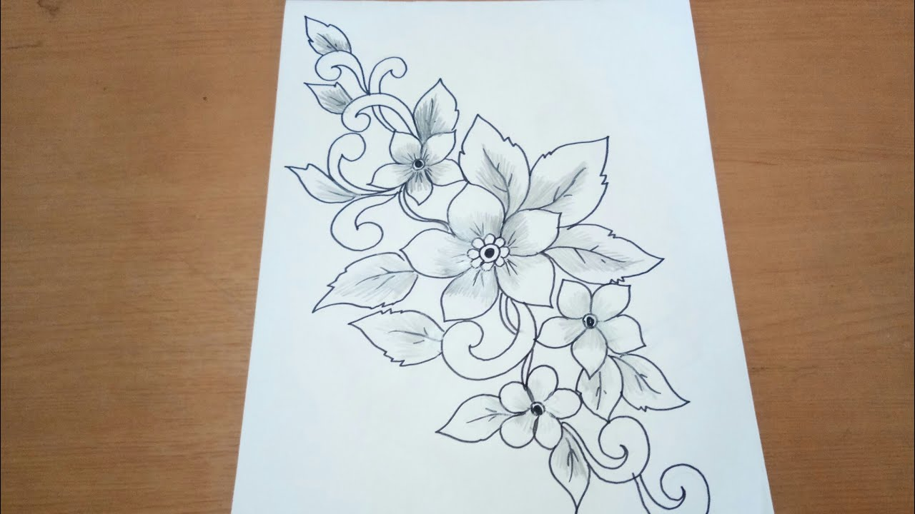 Sketsa Motif Batik Bunga Anggrek