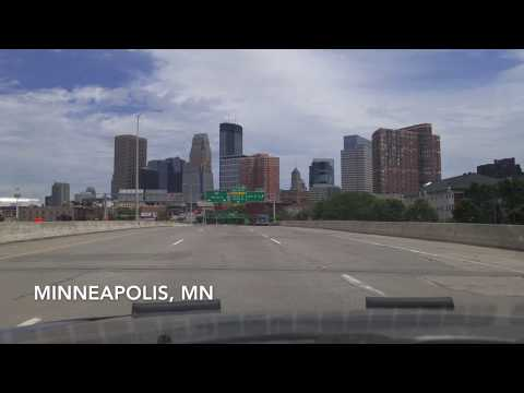 Driving Downtown Minneapolis and St. Paul, Minnesota