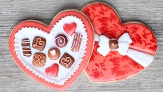Valentine's Chocolates Cookies - Heart shaped box - Step by step instructions