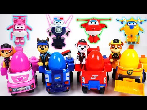 Thumbnail: Super Wings transform suit! Deliver Tayo's surprise eggs to Paw Patrol! - DuDuPopTOY