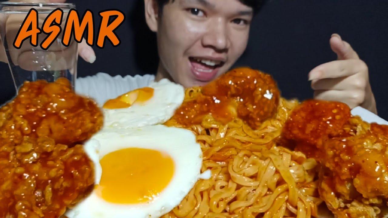 ASMR,มาม่าเกาหลี ไก่ซอสเกาหลี,Korean noodles