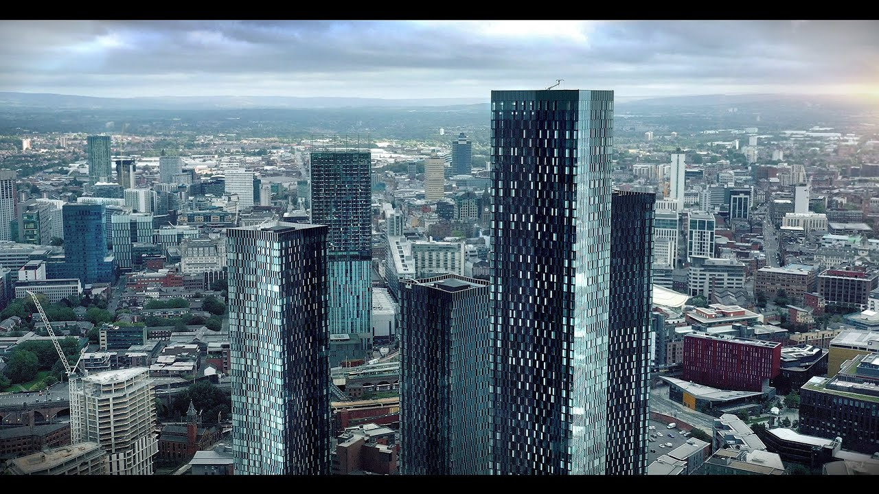 SKYLINE 4K Manchester Drone Footage Cinematic Skyscrapers Under Constuction