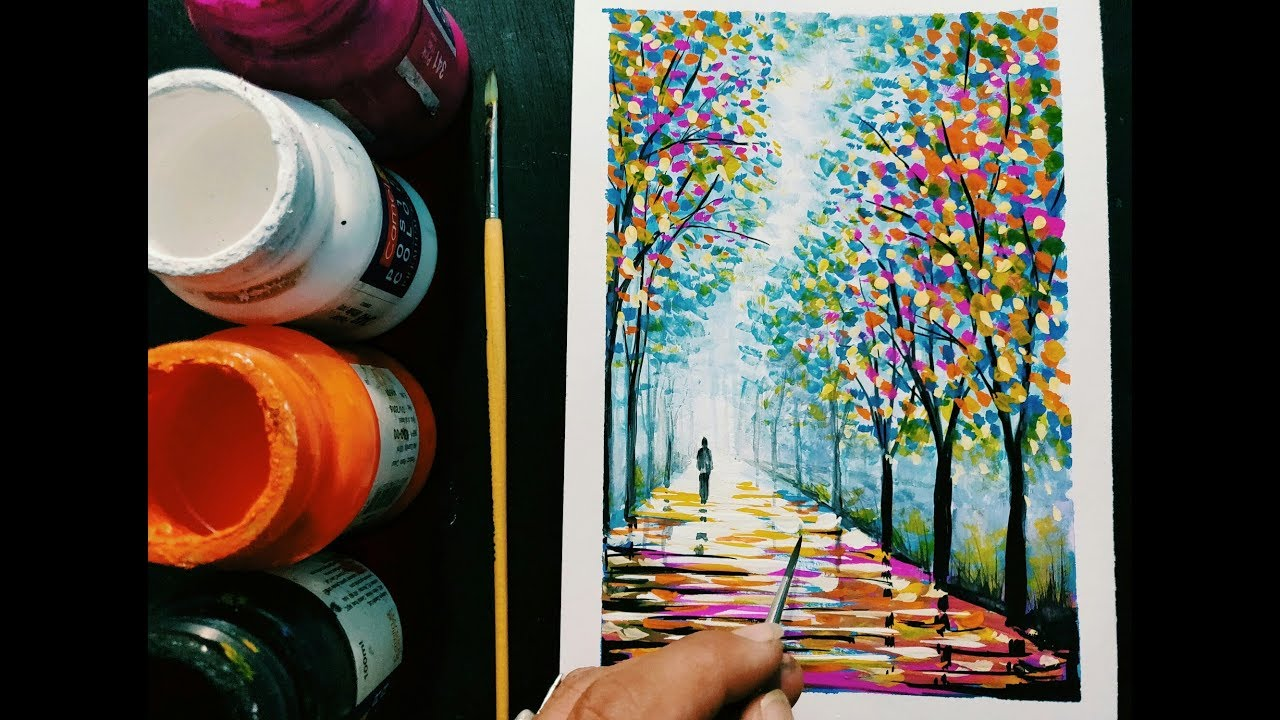 easy poster colour painting ideas step by step for beginners