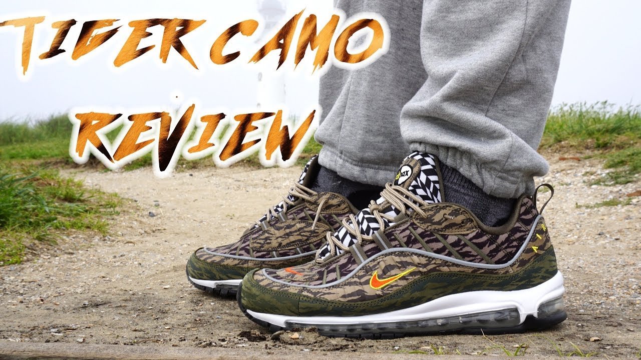 a3a22eaf0e NIKE AIR MAX 98 TIGER CAMO AOP PACK UNBOXING, detailed REVIEW AND ON FEET