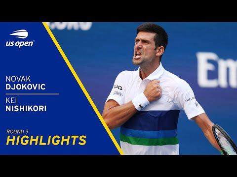 Novak Djokovic vs Kei Nishikori Highlights   2021 US Open Round 3