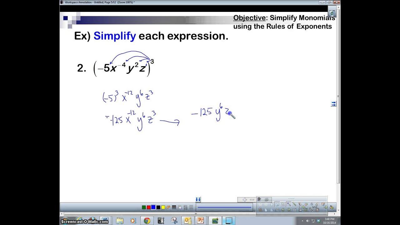 Algebra 2 Simplifying Monomials