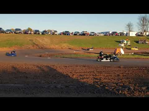 Rice Lake Speedway Kart Track, 10-19-19. Pit view, Heat Race 2, Pumpkin 100.