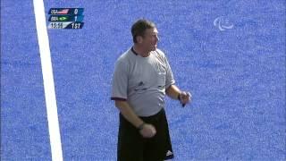 Football 7-a-side - USA vs BRA - 1st half Men's Prelims B2 vs B4 - London 2012 Paralympic Games