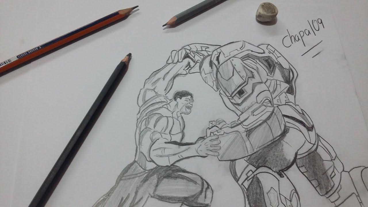 Dibujo de Iron Man(Hulkbuster) vs Hulk/ Drawing Iron Man(Hulkbuster ...