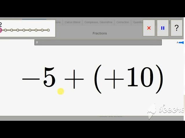 QUIZZ Calcul mental - Addition nombres relatifs - Maths 5ème.