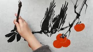Как нарисовать видео урок Хурма и Сороки How to draw Persimmons and Magpies tutorial  감과 까치 그리는 방법