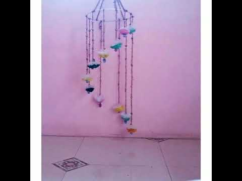 How to reuse of plastic bags to decorate home ( jhumar)