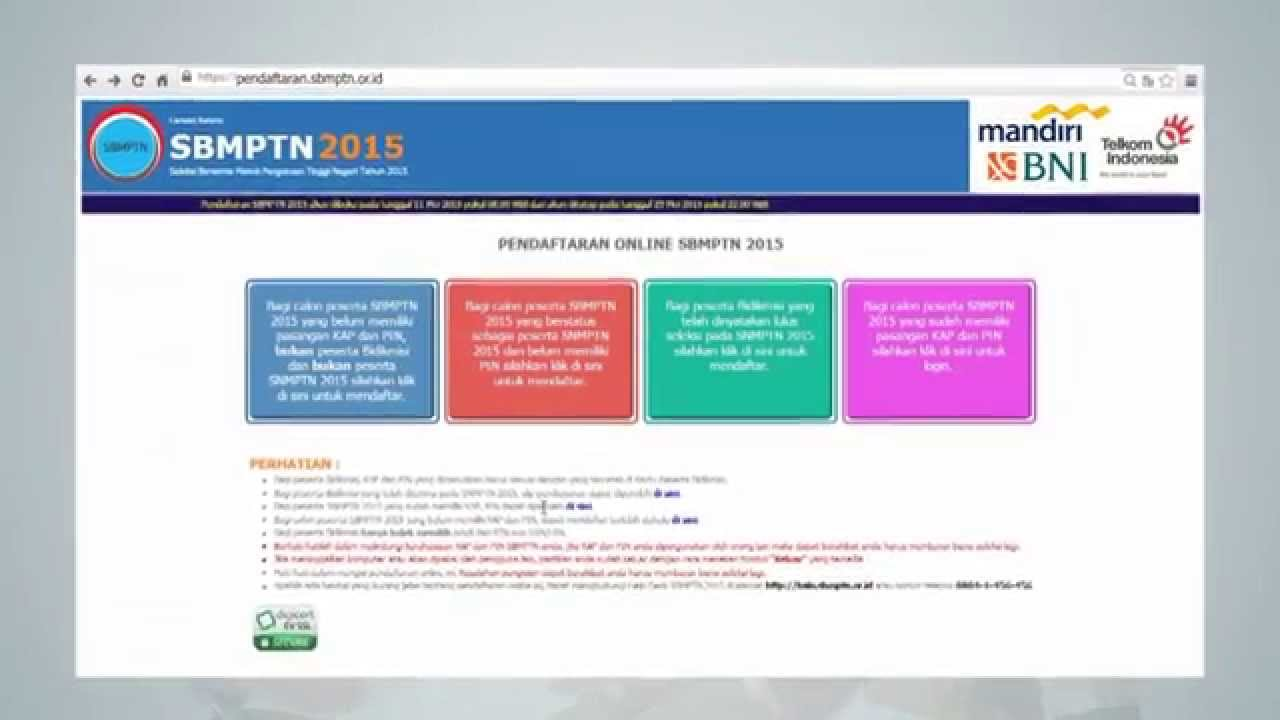 Pendaftaran SBMPTN 2016 OFFICIAL sbmptn.or.id - YouTube