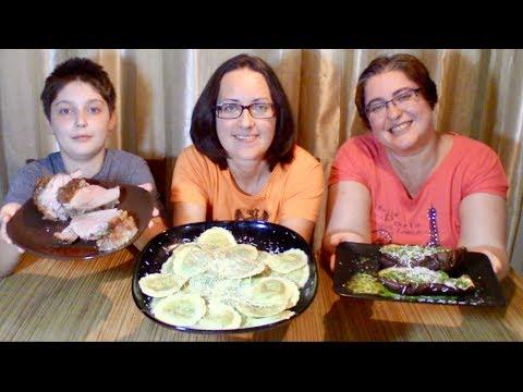 Spinach and cheese Ravioli, Pork Roast And Pesto Eggplant   Gay Family Mukbang (먹방) – Eating Show