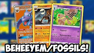ITEM LOCKING Beheeyem & Fossils Deck! Kabutops w/ Item Lock = OP? Unified Minds PTCGO