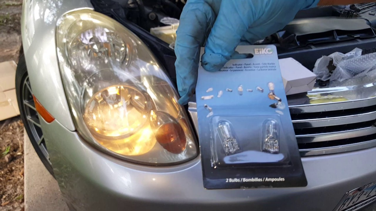 03 g35 sedan low beam head light bulb replacement and parking lightbulb replacement  [ 1280 x 720 Pixel ]