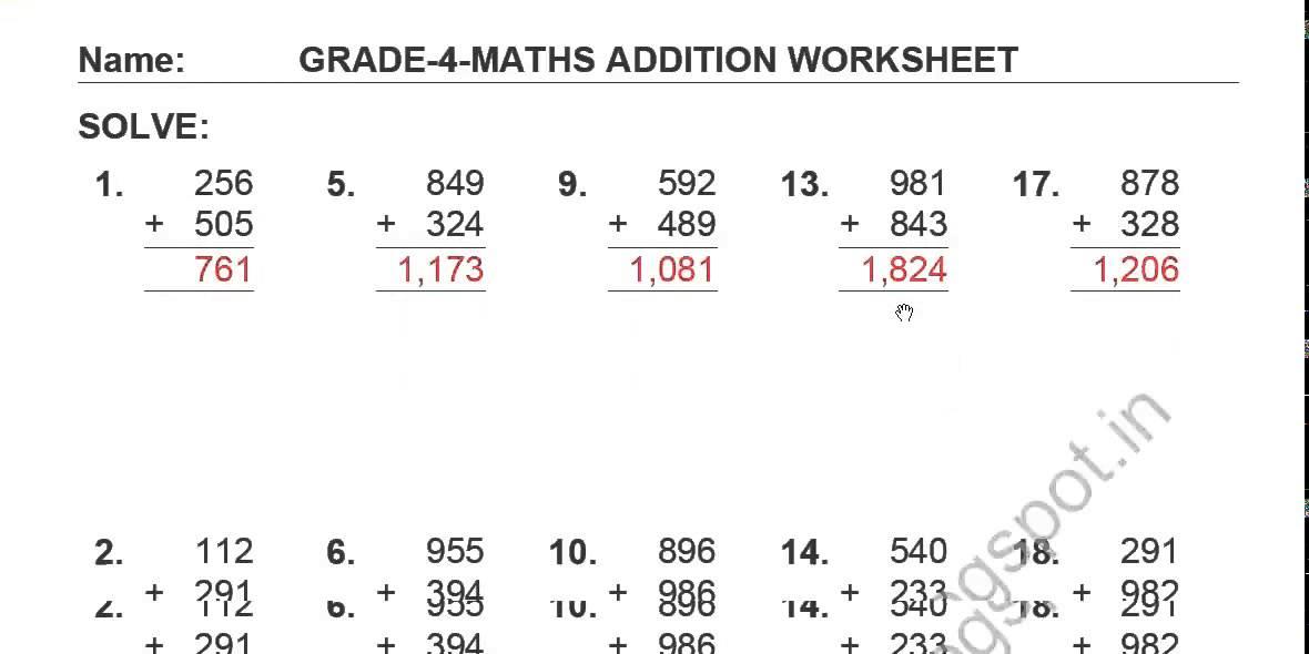 Free Printable Worksheets for grade 4 Maths Adding 3 digit numbers – Free Printable Maths Worksheets for Grade 4