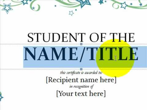 How to Make An Award Certificate Using Word 2010 YouTube – Make a Certificate in Word