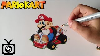 How to Draw Super Mario ( Mario Kart - Step by Step )