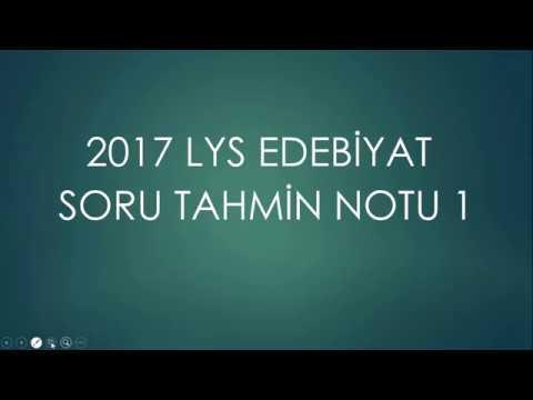 2017 LYS EDEBİYAT SORU TAHMİN NOTU 1