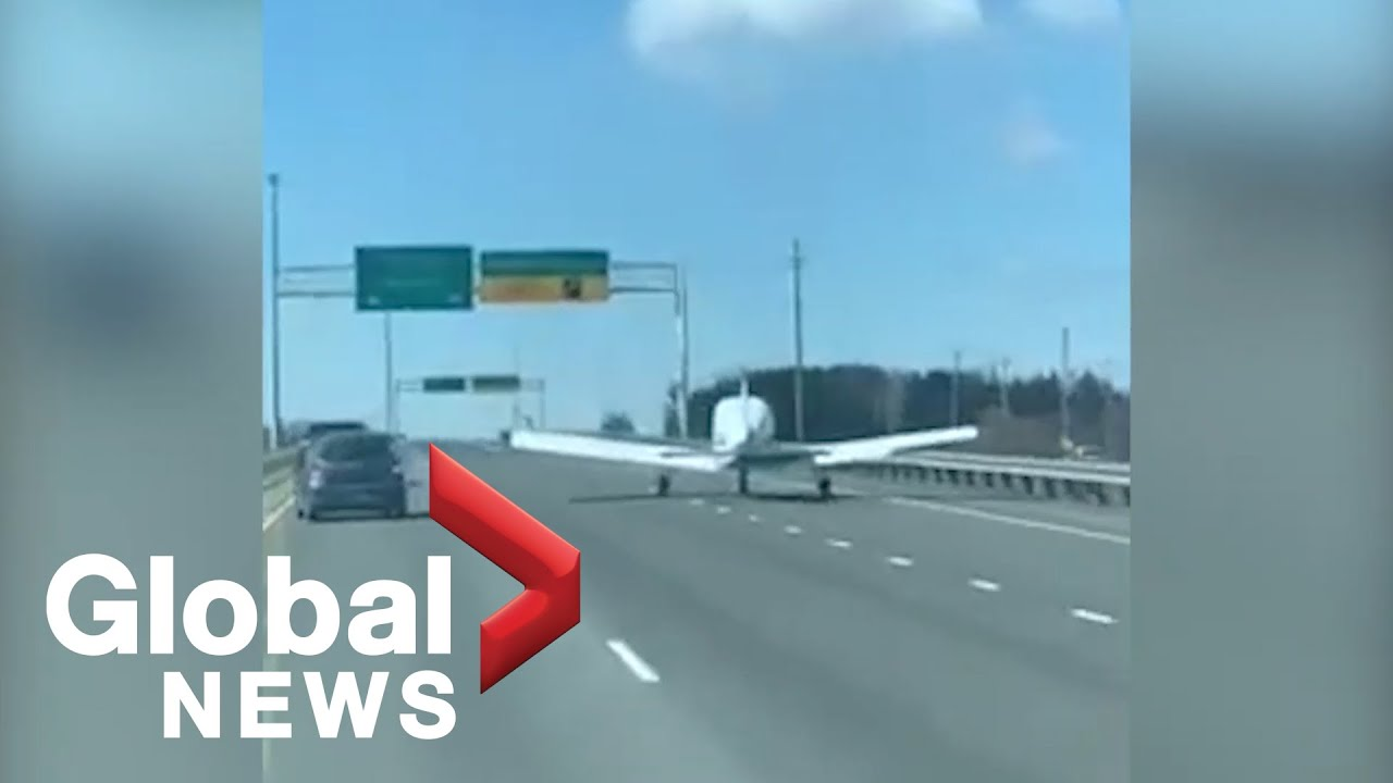 Small plane makes emergency landing on Quebec highway - YouTube