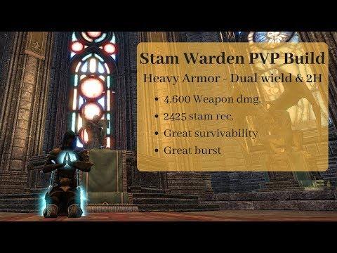 ESO: Stam Warden PVP build Summerset 4,6k weapon dmg, 2400 stam rec