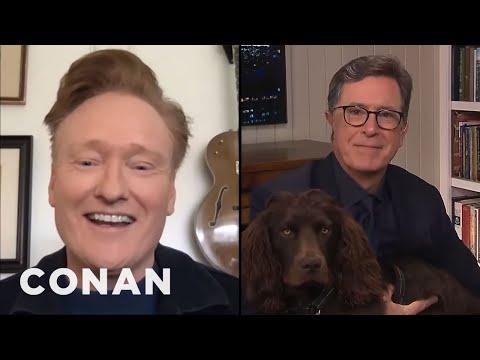Stephen Colbert Doesn't Believe Conan Has Dogs - CONAN on TBS