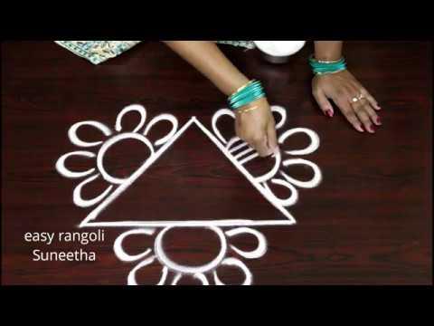 Triangle kolam designs || easy rangoli by Suneetha || latest daily muggulu patterns
