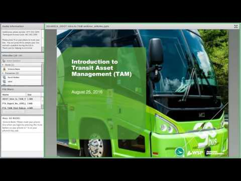 Introduction to Transit Asset Management (TAM) Webinar August 25, 2016