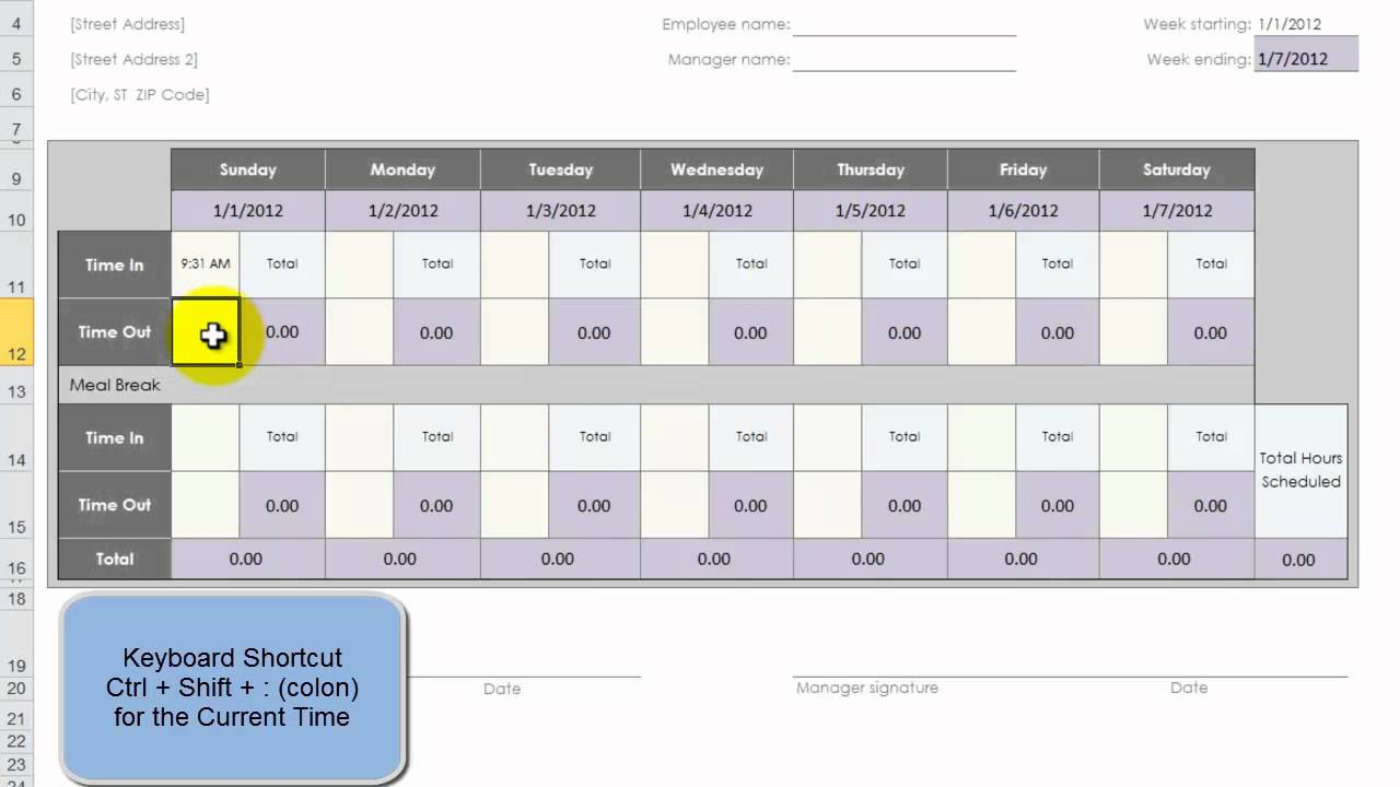use an excel template to create 52 weeks of employee time