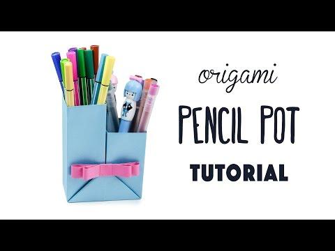 Origami Pencil Pot Tutorial - DIY - Paper Kawaii