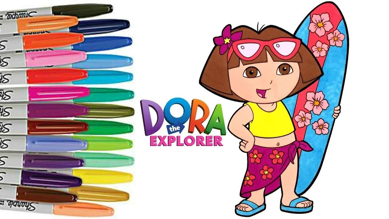 DORA the Explorer Coloring Book Page How to Color Hawaiian Dora ...