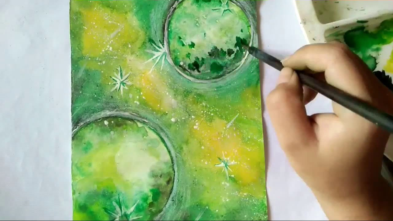 Vẽ tranh galaxy bằng màu nước Thiên Long
