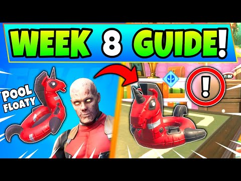 Fortnite DEADPOOL WEEK 8 CHALLENGES: POOL FLOATY + Yacht Party! How To Get Deadpool Battle Royale