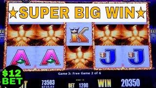 ★SUPER BIG WIN★Fire Light Slot Machine $12 Max Bet Bonuses & HUGE WIN !  Live Slot Play(Aristocrat )