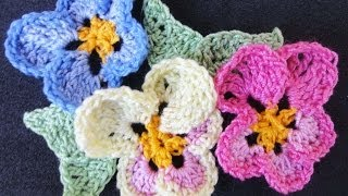 Цветок Анютины глазки Pansy Flower Crochet