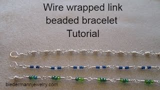 Wire wrapped link beaded bracelet